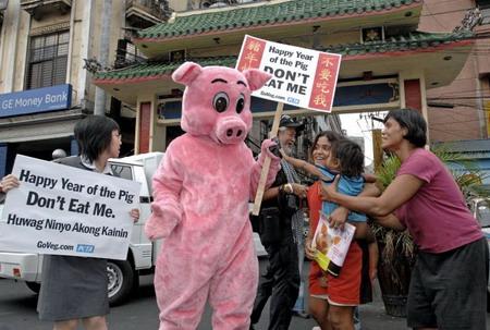 Филипины, г.Манила: ассоциация охраны животных поднимает лозунг: «С новым счастливым годом свиньи, не ешь меня!». Фото: Jay Directo/AFP