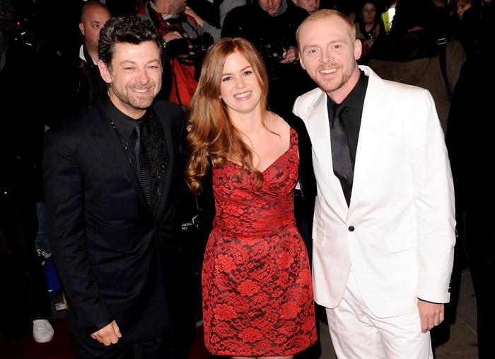 Енді Серкіс, Айла Фішер і Саймон Пегг на прем'єрі «Берк і Хейр» у Лондоні, 25 жовтня. Фото: Ian Gavan/Getty Images