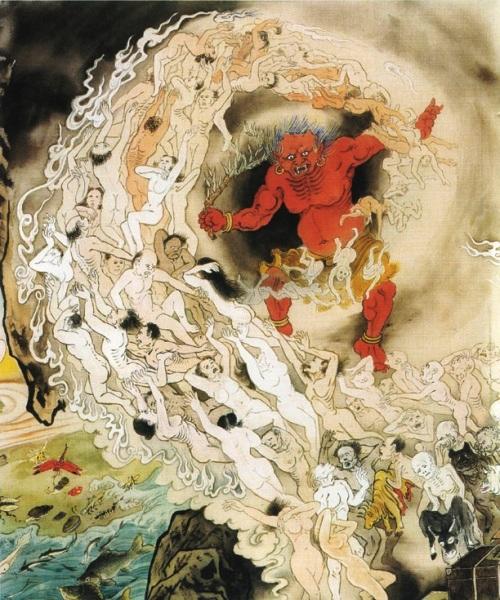 Гуй Ван (цар чортів), махнувши вербовою гілочкою, відправляє душі людей, що вимолили свої гріхи, перероджуватися в світ людей. Численні душі, відповідно зі своєю кармою, знову потрапляють в нескінченне коло перероджень. Фото надане Цзяном Іцзи