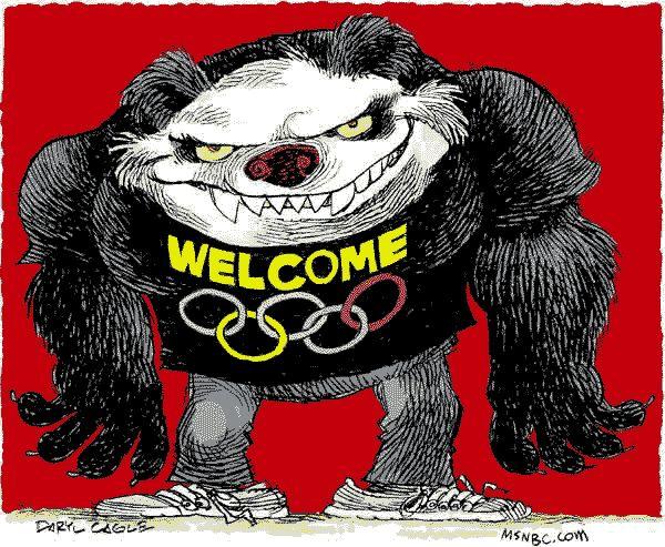 Карикатура на китайську компартію, яка приймає Олімпійські ігри в Пекіні