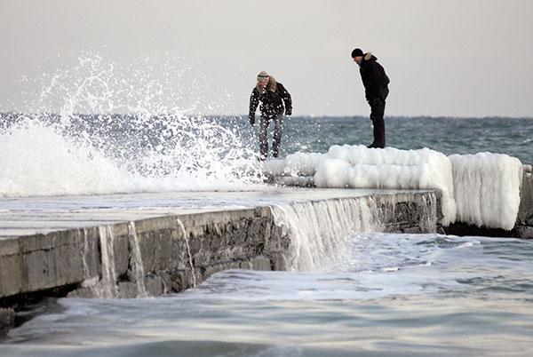 Пляж Аркадія в зимовий час. Одеса. Фото: Володимир Бородін / The Epoch Times
