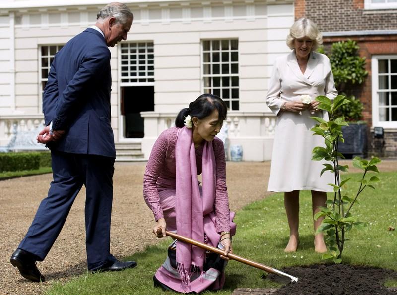 Лондон, Англия, 21 июня. Лидер оппозиции Бирмы Аун Сан Су Чжи вместе с принцем Чарльзом и его супругой Камиллой посадили магнолию в саду Кларенс-хаус. Фото: Ben Stansall — WPA Pool/Getty Images