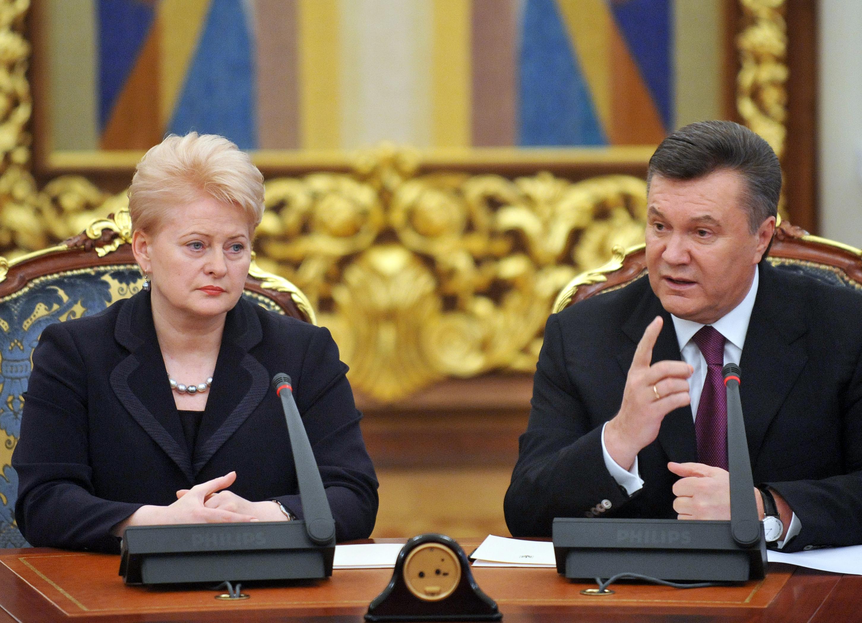 Президенты Украины и Литвы Виктор Янукович и Дали Грибаускайте