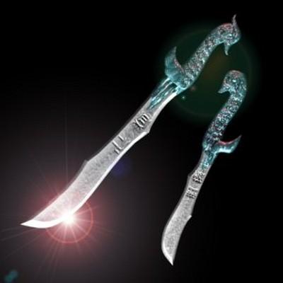 Два мечі «Селезень і качка». На довгому мечі «селезень» вигравійовано «гуманіст», а на короткому - «непереможний». Фото з aboluowang.com