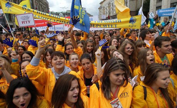 Московські студенти святкують День міста Москви 4 вересня. Фото: Alexey SAZONOV/AFP/Getty Images