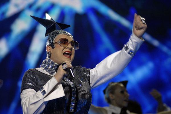 Верка Сердючка выступает на конкурсе «Мисс Украина-2008» в Киеве 23 апреля. Фото: The Epoch Times