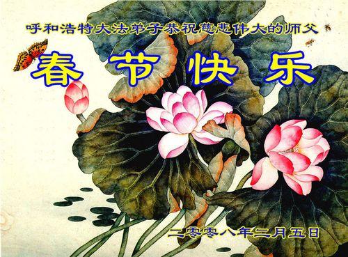 Поздравление от последователей «Фалуньгун» г. Хухэ внутренняя Монголия. Фото с minghui.org