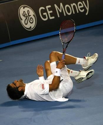 Янко Тіпсаревіч (Сербія)(Serbian tennis player Janko Tipsarevic) під час Відкритого чемпіонату Австралії з тенісу в Мельбурні. Фото: GREG WOOD/AFP/Getty Images