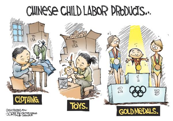 Фабрики, де використовується дитяча праця, виробляють одяг, іграшки, медалі...