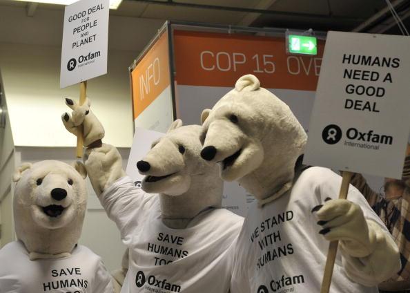 Активісти, одягнені в костюми полярних ведмедів, готуються до проведення акції «Врятуйте людей» в Копенгагені. Фото: ATTILA KISBENEDEK / AFP / Getty Images