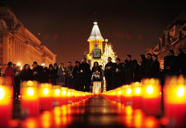 Румуни відзначили 20-ту річницю падіння комуністичного режиму. Фото: DANIEL MIHAILESCU / AFP / Getty Images