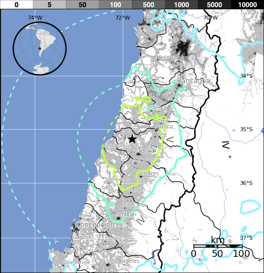 В Чили произошло землетрясение магнитудой 7