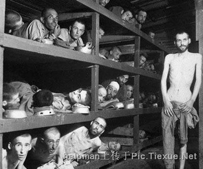 Узники концлагеря расположенного в Эбенси (Австрия), которые скоро умрут от голода. Этот лагерь использовался для «научных опытов». Его заключенные были освобождены  80-й дивизией США 7мая 1945года.