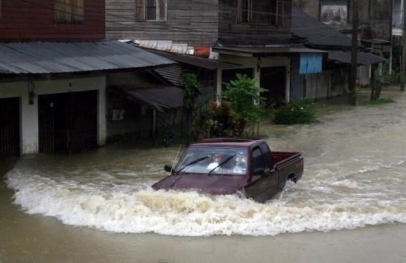 У південних провінціях Таїланду вже декілька днів не припиняються зливи, що паралізували нормальне життя в країні, затопивши дороги, школи і села. Фото: MADAREE TOHLALA / AFP / Getty Images