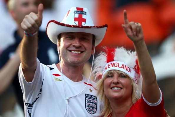 Английские болельщики на матче между Францией и Англией на Донбасс Арене 11 июня 2012 года в Донецке, Украина. Фото: Scott Heavey / Getty Images