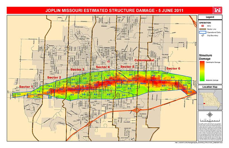 Карта проходження торнадо по місту Джоплін. Фото U.S. Army Corps of Engineers з сайту en.wikipedia.org