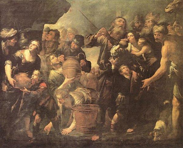 Мойсей видобуває воду зі скелі. Картина італійського художника Бассано Леандро. Фото з сайту liveinternet.ru