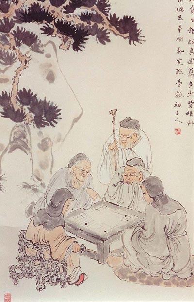Традиційний живопис Китаю. Гра в китайські шашки (вейчі). Чжан Цуйїн