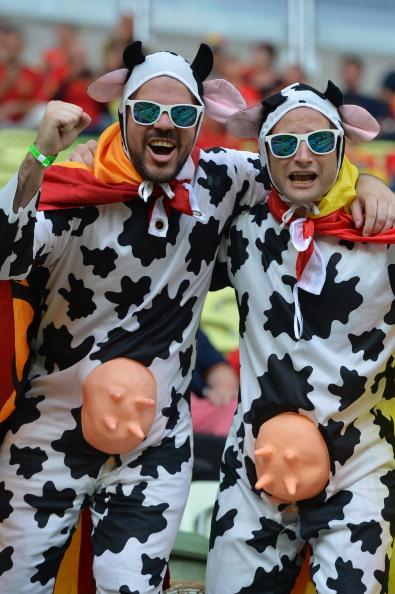 Поклонники национальной сборной Испании одеты в виде бычков перед матчем Хорватии против Испании 18 июня 2012 года, Арена Гданьск. Фото: GABRIEL Bouys/AFP/Getty Images