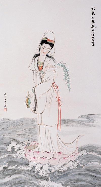 Традиційний живопис Китаю. Бодхісаттва Гуаньїн (Богиня милосердя). Чжан Цуйїн