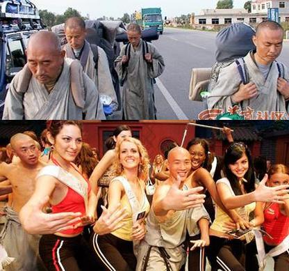 Ченці монастиря Дабей (зверху) і ченці монастиря Шаолінь, два абсолютно різних образи. Фото: з сайту epochtimes.com