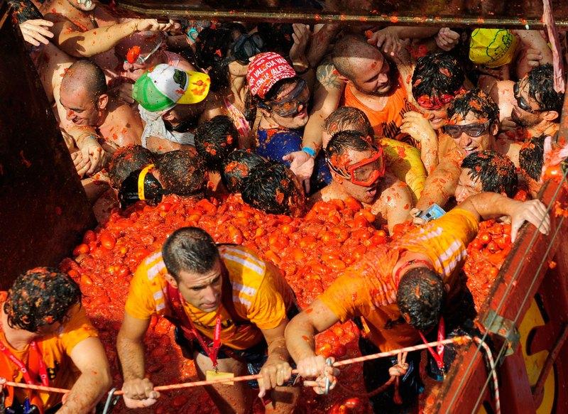 Вантажівки з помідорами. Фото: Denis Doyle/Getty Images