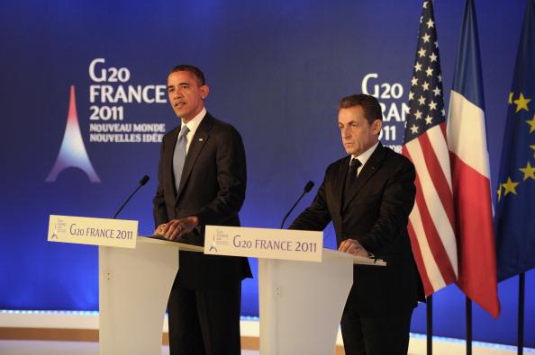Президент Франции Николя Саркози и президент США Барак Обама на встрече G20. Канны, 3 ноября. Фото: Kerim Okten-Pool/Getty Images