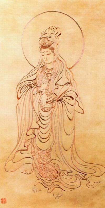 Бодхисатва Гуаньінь (Богиня Милосердя). Художник Цзен Хоус. Традиційний живопис Китаю.