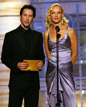 С Умой Турман на 61-й церемонии вручения «Золотого глобуса» 25 января 2004 года. Фото: Chris Haston/NBC via Getty Images