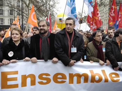 Французские преподаватели и другие служащие коммунального обслуживания провели в четверг забастовку. Фото: STEPHANE DE SAKUTIN/AFP/Getty Images
