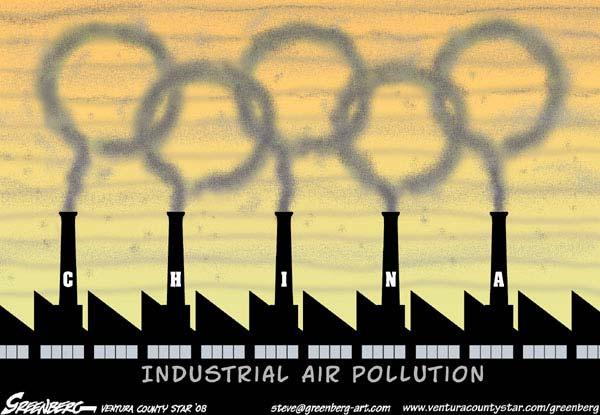 Карикатура на Олімпійські ігри в Пекіні, де ситуація із забрудненням повітря залишає бажати кращого