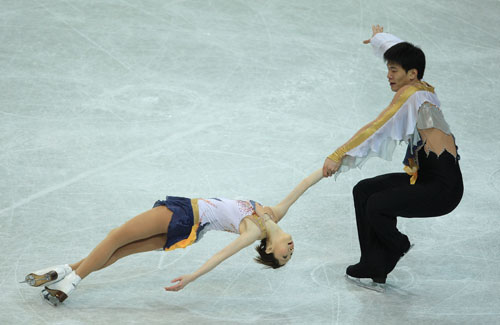 Дань Чжан/Хао Чжан (Китай) исполняют короткую программу. Фото: Jamie McDonald/Getty Images