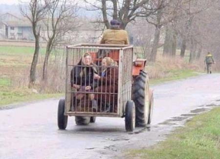 Чоловік їде на тракторі, перевозячи бабусь у клітці