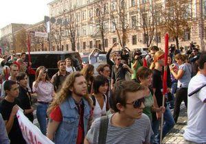 Студенты на Михайловской площади в Киеве.