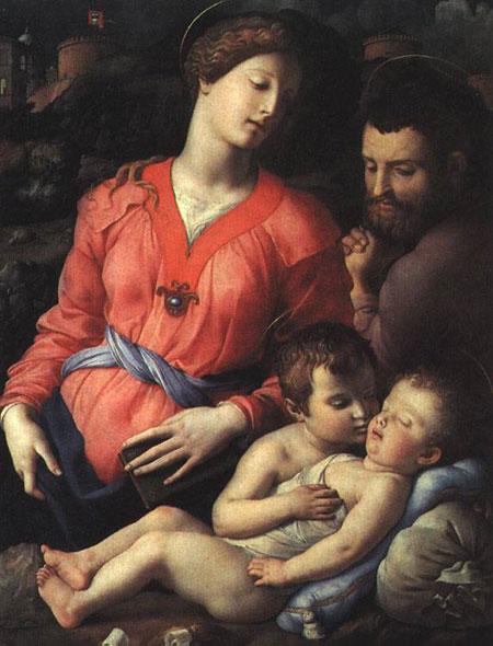 Аньйоло Бронзино. Святе сімейство з Іоанном Крестителем. Галерея Уффіці, Флоренція, Італія. Зображення: Art Renewal Center