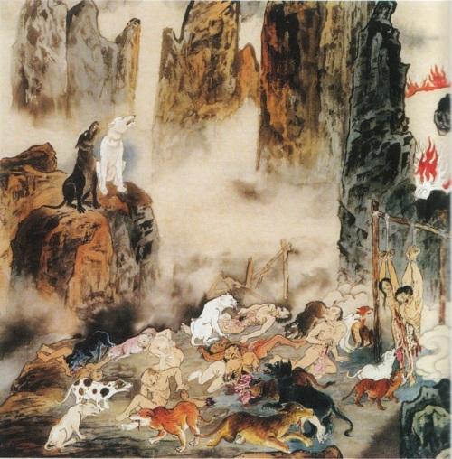 Сьомий рівень пекла, їм керує Чин Шань Ван. Це місце пекла, де грішників розривають на частини голодні пси й вовки. Тут ті, хто сіяв конфлікти й розбрати, хто заради захисту своєї влади й посади, не зважаючи ні на що. Фото надане Цзяном Іцзи