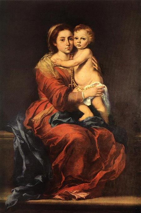 Бартоломе Естебан Мурільйо. Мадонна і Немовля з чотками. Музей Прадо, Мадрид, Іспанія. Зображення: Art Renewal Center