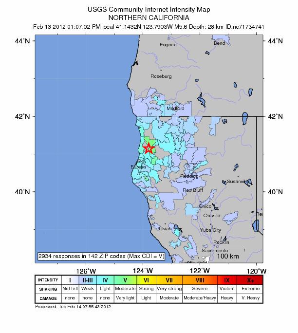 В Северной Калифорнии произошло землетрясение