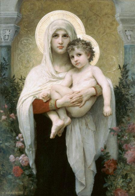 Уильям Адольф Бугеро. Мадонна с розами. Частная коллекция. Изображение: Art Renewal Center, artrenewal.org