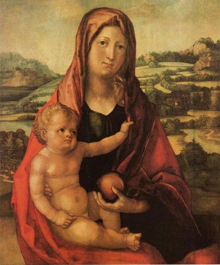 Альбрехт Дюрер. Марія з Немовлям на тлі пейзажу. Приватна колекція