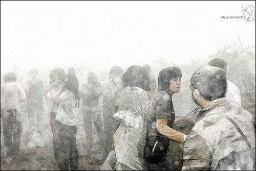 Коли землетрус закінчився, всюди був багато білого пилу. Фото з aboluowang.com