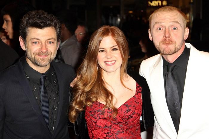 Енді Серкіс, Айла Фішер і Саймон Пегг на прем'єрі «Берк і Хейр» у Лондоні, 25 жовтня. Фото: Dave Hogan/Getty Images