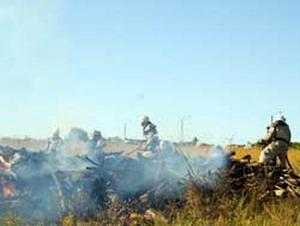 Пожар на складах пиротехники в Донецкой области. Фото: mns.gov.ua
