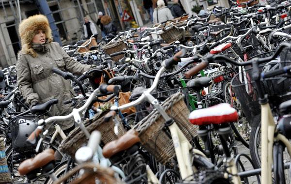 Беременная женщина ищет свой велосипед. Тысячи демонстрантов собрались на улицах Копенгагена в минувшие выходные. Они требуют от мировых лидеров сокращения выбросов в атмосферу вредных газов. Дания Фото: ADRIAN DENNIS/AFP/Getty Images