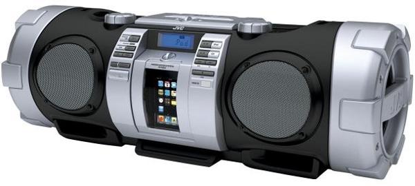 JVC реанимировала некогда популярный бумбокс, который теперь называется RV-NB50 Kaboom. Теперь в нём установлена док-станция для iPod, возможность подключения по USB, мощность 40 Вт. CD, FM -радио по умолчанию. (JVC)