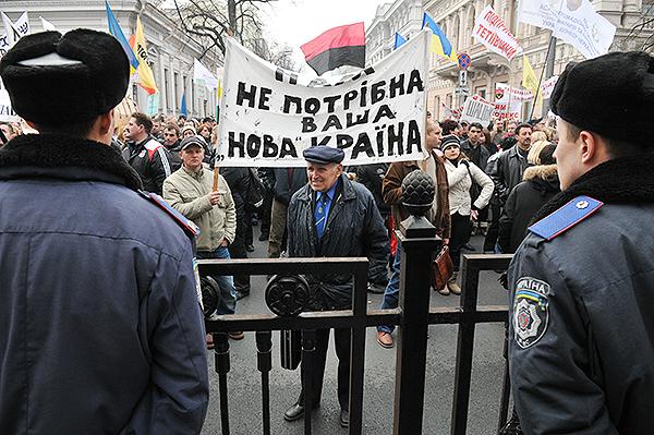 Акция протеста предпринимателей против принятия налогового кодекса состоялась в Киеве 16 ноября 2010 года. Фото: Владимир Бородин/The Epoch Times Украина