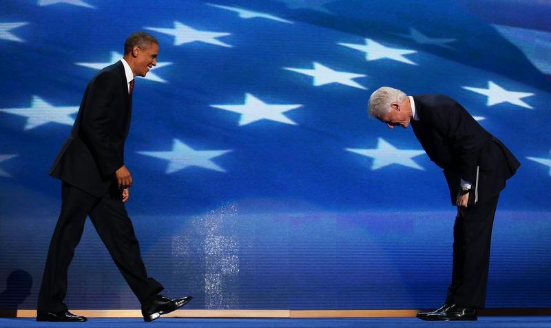 Шарлотт, США, 5 сентября. Билл Клинтон приветствует Барака Обаму на съезде демократов. Фото: Chip Somodevilla/Getty Images