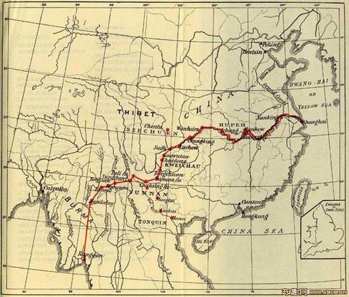 Маршрут путешествия Моррисона по Китаю