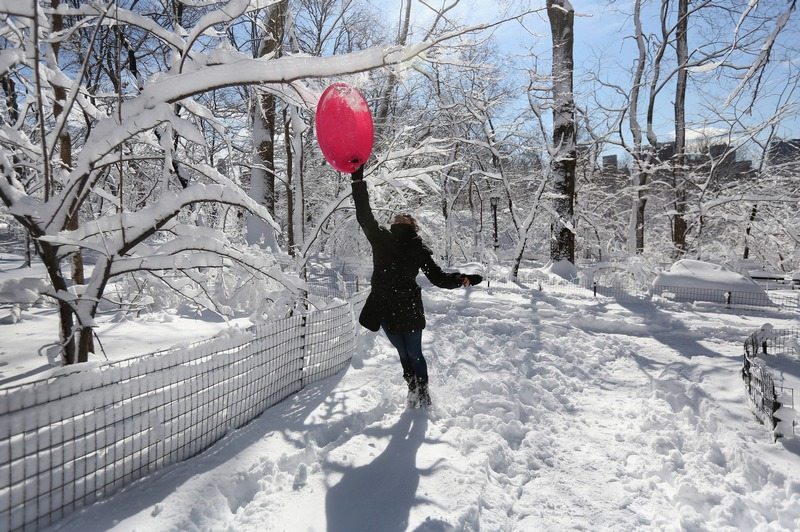 Нью-Йорк, США, 9 февраля. Центральный парк укрыт слоем снега, толщина которого местами достигает 30 см. Фото: John Moore/Getty Images