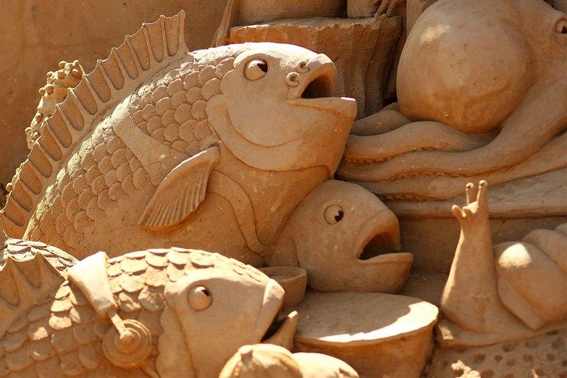 Фрагмент песчаной скульптуры «Создатели рифов». Авторы Кевин Кроуфорд (Kevin Crawford) и Джим Макколи (Jim McCauley). Франкстон, Австралия. Фото: Graham Denholm/Getty Images